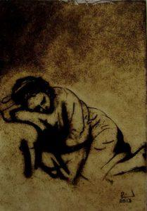 Een replica op glas van Rembrandt's Slapende jonge vrouw.