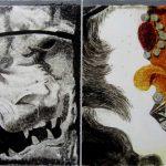 Een afbeelding van een leeuw en een deel van de kroon, gemaakt met de techniek van brandschilderen voor interieurdecoraties | door glasatelier ruud harberts