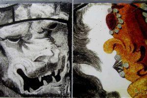 Een afbeelding van een woeste leeuwenkop met een deel van een kroon gemaakt met de techniek van brandschilderen | door glasatelier ruud harberts